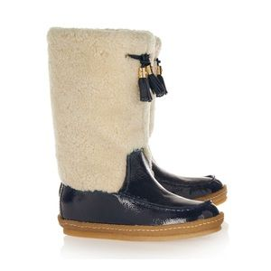 Tory Burch Lenore Shearling & Patent Leather Boots